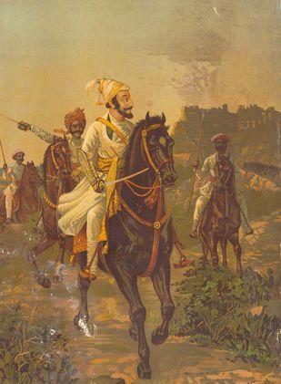 Shiwaji Maharaja by Raja Ravi Varma, Realism Printmaking, Lithography on Paper, Brown color