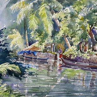 Back water 1 by Sunil Linus De, Impressionism Painting, Watercolor on Paper, Green color