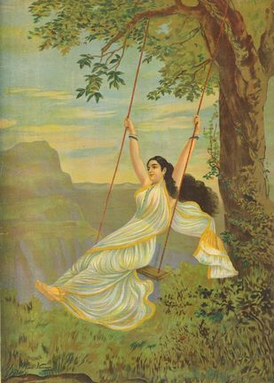 Mohini by Raja Ravi Varma, Realism Printmaking, Lithography on Paper, Beige color