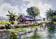 Back water 2 by Sunil Linus De, Impressionism Painting, Watercolor on Paper, Gray color