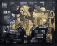 Golden Buffalo by Nivas Kanhere, Expressionism Painting, Acrylic on Canvas, Gray color