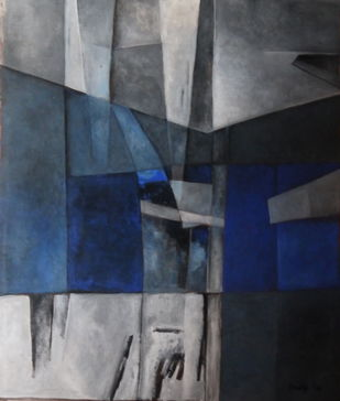 Untitled by Pradip Chaudhuri, Abstract Painting, Acrylic on Canvas, Gray color