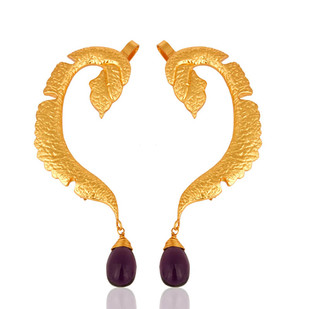 AMETHYST DROP EAR CUFF by MYO , Contemporary Earring