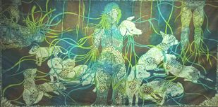 untitled by Preksha Jain, Expressionism Printmaking, Wood Cut on Paper, Green color