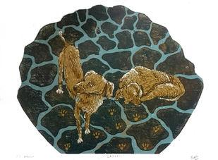 Landless by Preksha Jain, Expressionism Printmaking, Wood Cut on Paper, Green color