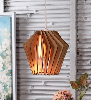 The Brighter Side whirlpool natural wood pendant- large Ceiling Lamp By The Brighter Side