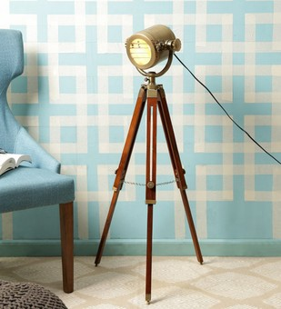 The Brighter Side Antique marine tripod lamp Floor Lamp By The Brighter Side