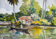 Backwater 3 by Sunil Linus De, Impressionism Painting, Watercolor on Paper, Beige color