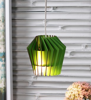 The Brighter Side whirlpool green wood pendant - small Ceiling Lamp By The Brighter Side