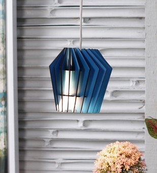 The Brighter Side whirlpool Blue wood pendant - small Ceiling Lamp By The Brighter Side