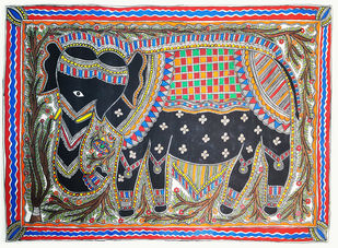 Black Elephant by Sudina Devi, Traditional Painting, Acrylic on Paper, Brown color