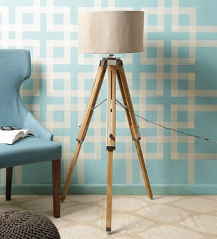 The Brighter Side Teak wood tripod lamp base Floor Lamp By The Brighter Side