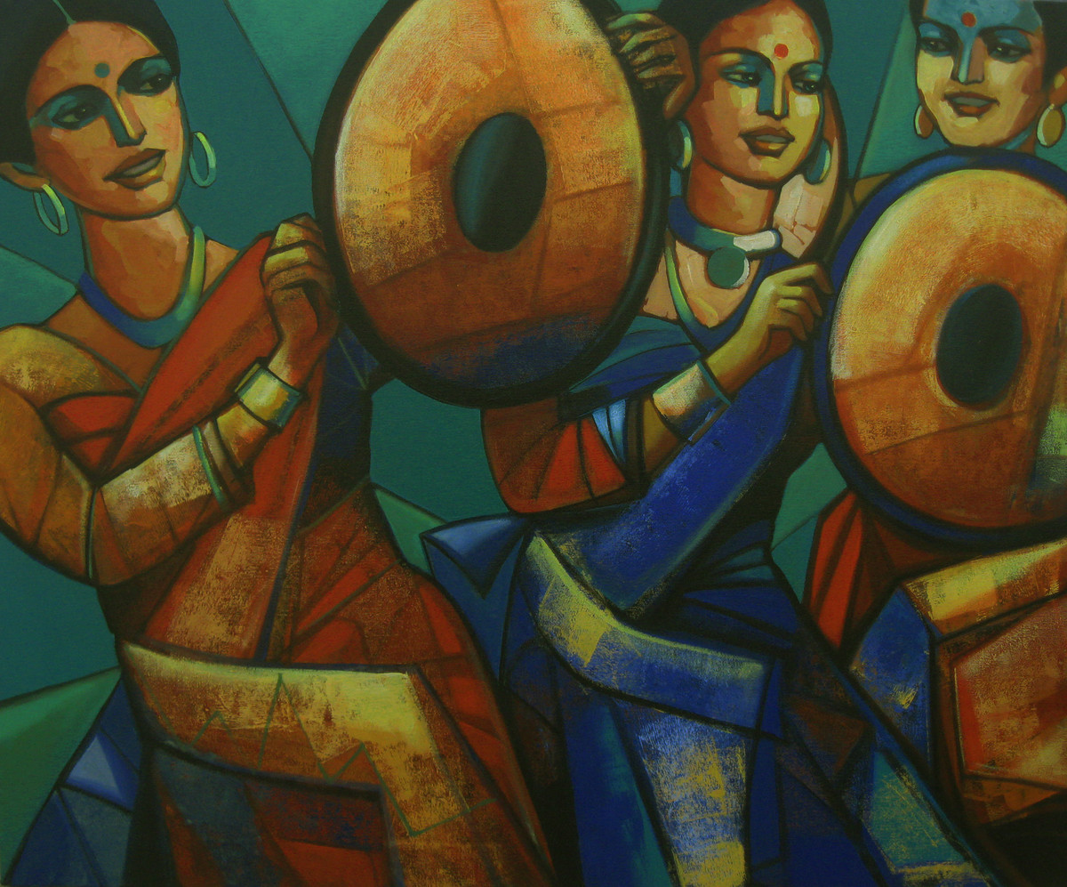 rhthymscape series by Anindya Mukherjee, Traditional Painting, Acrylic on Canvas, Brown color