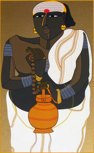 Telangana Pandit - II by Thota Vaikuntam, Expressionism Printmaking, Serigraph on Paper, Brown color