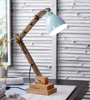 The Brighter Side Himaliya sky blue wooden table lamp Table Lamp By The Brighter Side