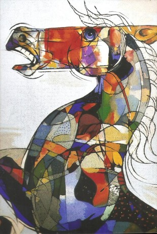 Horse Mosaic by Dhiren Sasmal, Expressionism Painting, Acrylic & Ink on Canvas, Gray color
