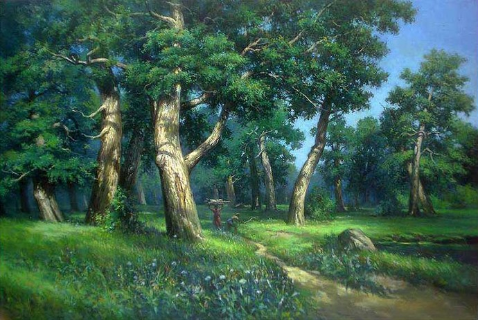 Forest Scene by Gautam Sarkar, Traditional, Traditional Painting, Acrylic on Canvas, Brown color