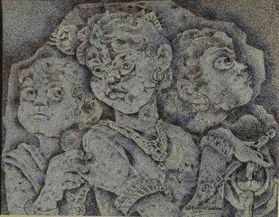Three Boys by Dhiren Sasmal, Expressionism Painting, Mixed Media on Board, Beige color