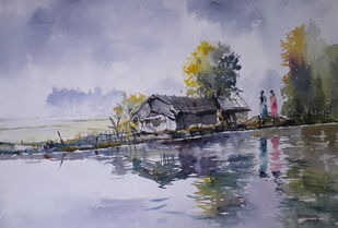 Life Along River by Mopasang Valath, Impressionism Painting, Watercolor on Paper, Pink color