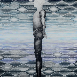 Reflection by Gitanjali Kashyap, Op Art Painting, Charcoal on Paper, Green color