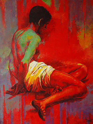 Brahmin Boy by Studio Zaki, Expressionism Painting, Acrylic on Canvas, Red color