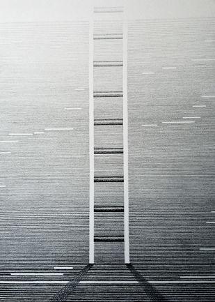 Upwards by Gitanjali Kashyap, Op Art Drawing, Graphite on Paper, Gray color