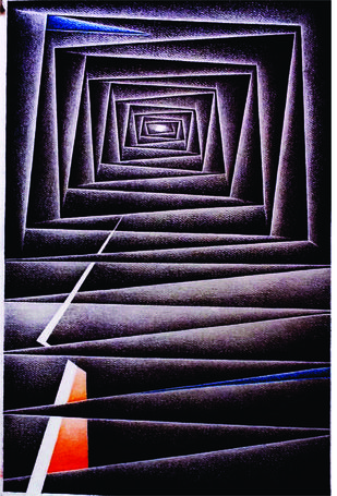 Within by Gitanjali Kashyap, Op Art Painting, Charcoal on Paper, Blue color