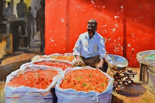 The Vendor by the Red Wall by Ramesh Jhawar, Impressionism Painting, Watercolor on Paper, Brown color