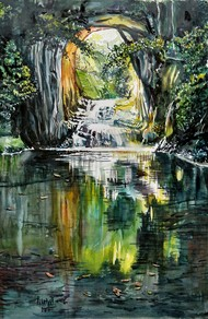 Water fall by Prabhakaran, Impressionism, Impressionism Painting, Watercolor on Paper, Green color