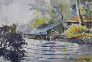 Life Along River 5 by Mopasang Valath, Impressionism Painting, Watercolor on Paper, Gray color
