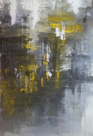 Black and White Series , I by Taru Shikha, Abstract Painting, Acrylic on Canvas, Gray color
