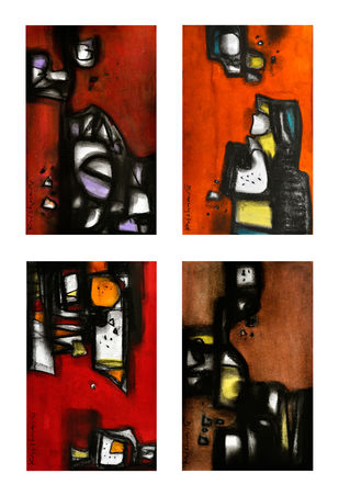 Untitled by Krishna Pulkundwar, Abstract, Abstract Painting, Mixed Media on Paper, Brown color