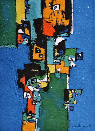 Untitled by Krishna Pulkundwar, Abstract Painting, Mixed Media on Paper, Blue color