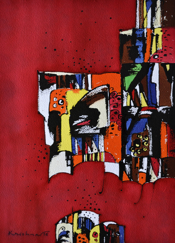 Untitled by Krishna Pulkundwar, Abstract Painting, Mixed Media on Paper, Red color
