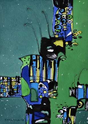 Untitled by Krishna Pulkundwar, Abstract Painting, Mixed Media on Paper, Green color
