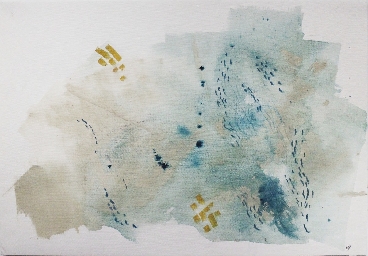 Salt #1 by Pia Meenakshi, Abstract Painting, Mixed Media on Paper, Gray color