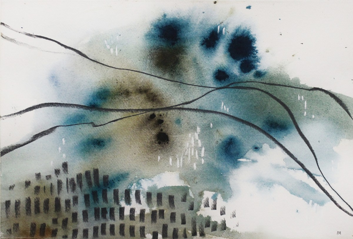 Jumping Fences by Pia Meenakshi, Abstract Painting, Mixed Media on Paper, Gray color