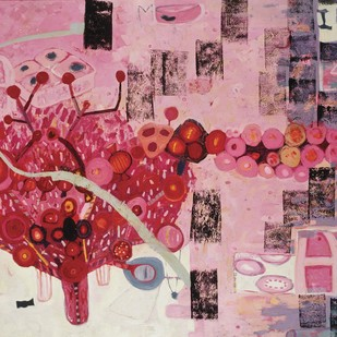 Candy Dreams-I by Ruchika Wason Singh, Abstract Painting, Oil on Canvas, Pink color