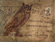 Owl6 by DOLLY AGARWAL, Expressionism Painting, Tempera on Board, Brown color