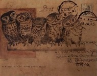Owl 7 by DOLLY AGARWAL, Expressionism Painting, Tempera on Board, Brown color