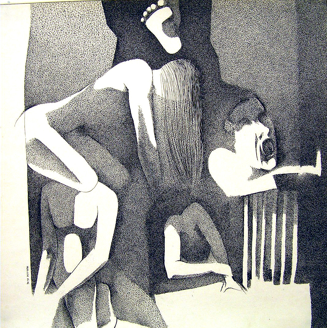 Untitled by BELE D.B., Expressionism Drawing, Ink on Paper, Gray color