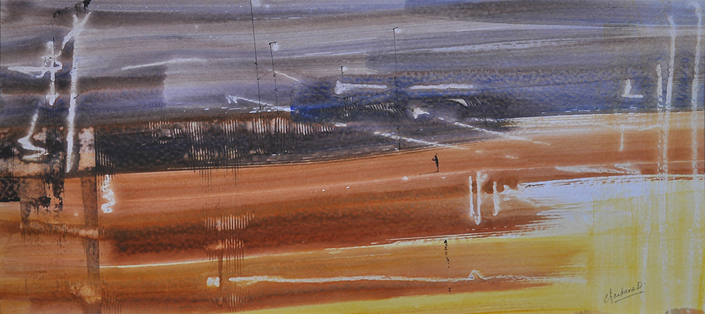 SOLITUDE by Chandana Kankaria, Abstract Painting, Watercolor on Paper, Brown color