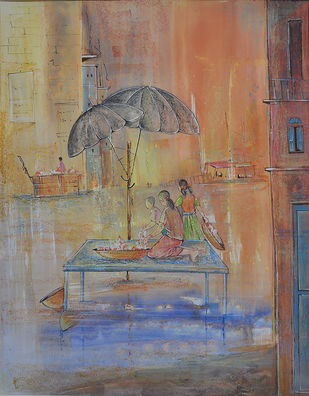 UNTITLED V by Chandana Kankaria, Impressionism, Impressionism Painting, Watercolor on Paper, Brown color