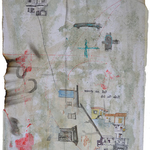 MAMA'S HOUSE by Monika Thesiya, Expressionism Painting, Mixed Media on Paper, Gray color