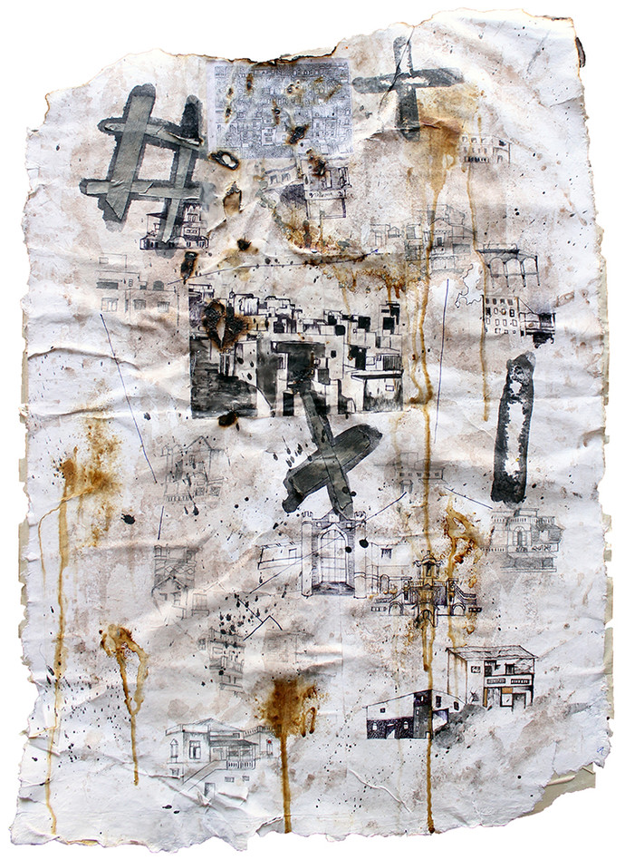 UNTITLED II by Monika Thesiya, Expressionism Painting, Mixed Media on Paper, Gray color