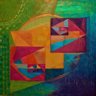 echoes by Priya Yabaluri, Geometrical Painting, Acrylic on Canvas, Green color