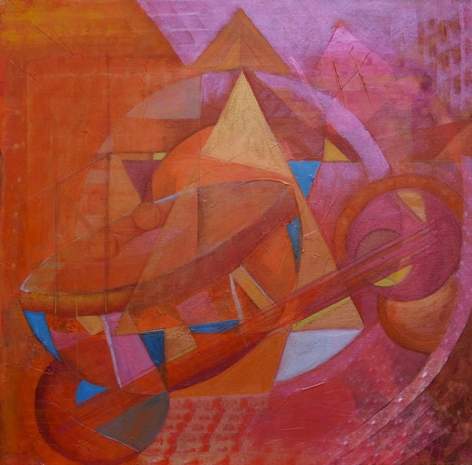 Shine on you crazy diamond by Priya Yabaluri, Geometrical Painting, Acrylic on Canvas, Brown color