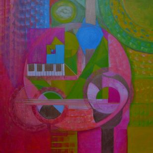Echoes 1 by Priya Yabaluri, Geometrical Painting, Acrylic on Canvas, Purple color