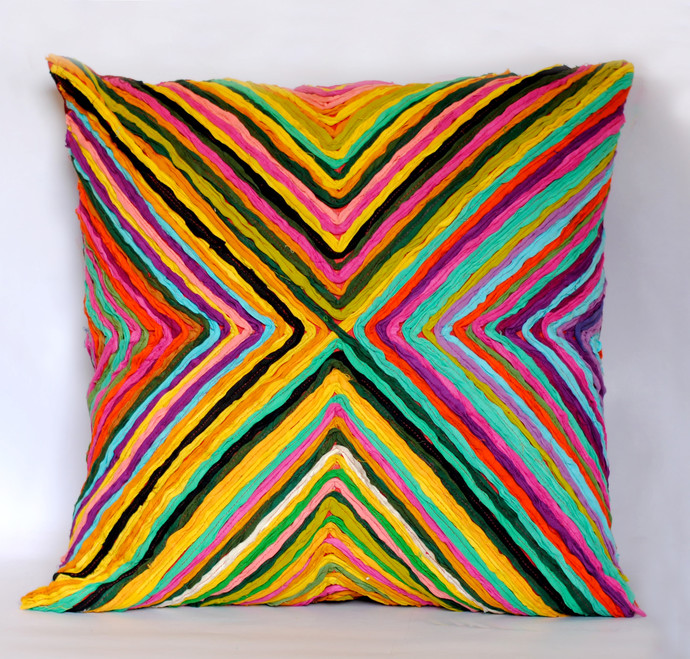 Katran Cushion : Kite Pattern : Multicolor Accessories By Sahil & Sarthak