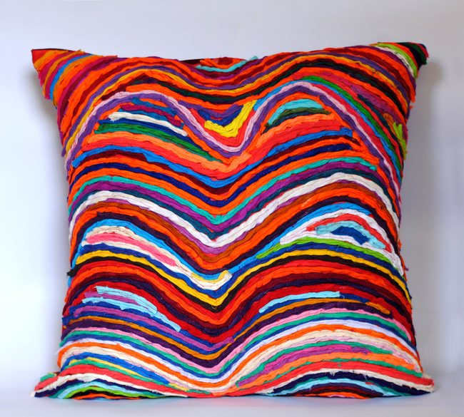 Katran Cushion : Wave Pattern : Multicolor Cushion Cover By Sahil & Sarthak